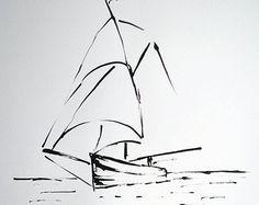 Original ink drawing sailboat europeanstreetteam by galeriaVarte