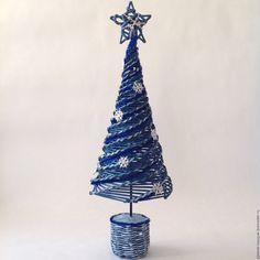 Купить Интерьерная елка из бумажной лозы - темно-синий, серебряный, елка, елка интерьерная