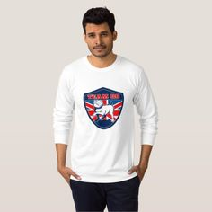 "Team GB English bulldog British sports team shield T-shirt. illustration of a Proud English bulldog marching with Great Britain or British flag in background set inside a shield with words ""bulldogs"" suitable for any sports team mascot #TeamGB #olympics #sports #summergames #rio2016 #olympics2016"