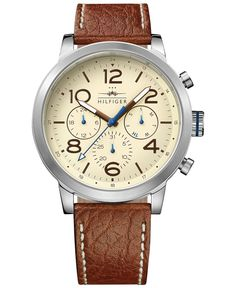 Tommy Hilfiger Men's Casual Sport Brown Leather Strap Watch 46mm 1791230