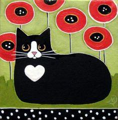 Black and White Tuxedo CAT and RED Poppies ORIGINAL Folk ART Painting