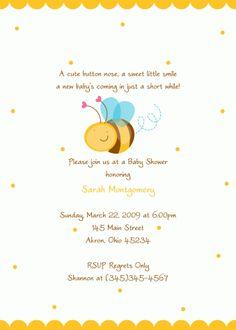 Bee Birthday or Baby Shower Invitation