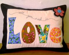 "PDF Pattern for Applique Cushions (Approx. 18"" x 14"") Level: Intermediate"