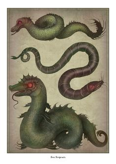 """Sea Serpents by VLADIMIR.  """"A sea serpent or sea dragon is a type of sea monster either wholly or partly serpentine. Sightings of sea serpents have been reported for hundreds of years. Cryptozoologist Bruce Champagne identified more than 1,200 purported sea serpent sightings. Some cryptozoologists have suggested that the sea serpents are relict plesiosaurs, mosasaurs or other Mesozoic marine reptiles, an idea often associated with lake monsters such as the Loch Ness Monster."""""""