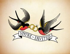 Save the Date - Ruth Holland Portfolio: Graphic Design & Art Direction Sailor Jerry Swallow, Tattoo Cake, Date Tattoos, Sailor Jerry Tattoos, Rockabilly Wedding, Wedding Show, Wedding Stuff, Wedding Ideas, Wedding Tattoos