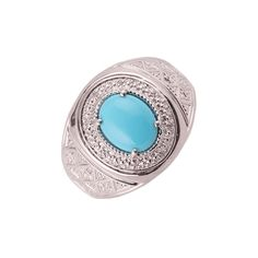 Excellent Silver Ring Turquoise Gemstone Ring 925-Silver Ring AAA Quality Round Cabochon Ring Antique Silver Jewelry For Men /& Women 2.12gms