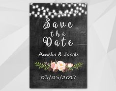 Big Sale - 50% OFF Watercolor String Lights Save the Date Chalkboard Card by Digi Invites https://www.etsy.com/shop/DigiInvites/   **Text can be changed for any occasion **... #personalized #custom #xs002c #xs003c