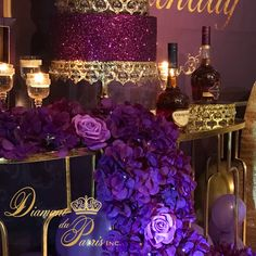 Amethyst Birthday Day by Diamant du Parris Inc. 60th Birthday, Birthday Parties, Happy Birthday, Surprise Birthday, Cake Table Decorations, Centerpieces, 21st Party, Dessert Stand, Milestone Birthdays