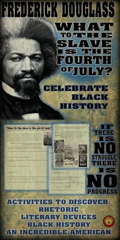 A fabulous way to celebrate Black History. introduce students to Frederick Douglass, an impressive black American. Teach literary devices and rhetoric. American History Lessons, American Literature, History Class, African American History, Design History, Black Authors, Frederick Douglass, English Activities, Black History Facts