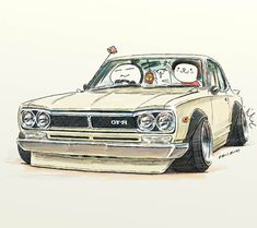 "car illustration""crazy car art""jdm  japanese old school ""HAKOSUKA""original cartoon ""mame mame rock""   /   © ozizo"
