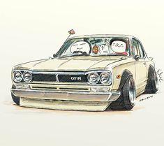 "car illustration""crazy car art""jdm japanese old school ""HAKOSUKA""original cartoon ""mame mame rock""  /  © ozizo"