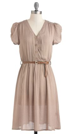 Take to the Wind Dress in Tan with skinny leather belt