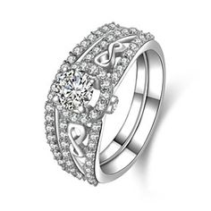 1.00 Carat VVS1 14K Solid White Gold Round Cut Wedding Bridal Ring by JewelryHub on Opensky