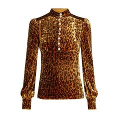 Hillier Bartley Leopard-print velvet blouse (£1,070) ❤ liked on Polyvore featuring tops, blouses, leopard, leopard blouse, high neck top, high neck blouse, ruched blouse and shirred top