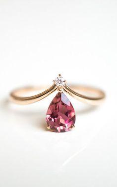 Solid 18k gold V shape pink tourmaline diamond ring, rose gold