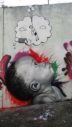 Isso é muito lindo! A gente deveria aprender com as crianças! street art - Itaim Paulista, São Paulo - SP