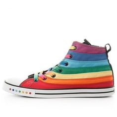 Amazon.com | PP FASHION Women's Rainbow Flat Heel Casual Canvas... (620 ARS) ❤ liked on Polyvore featuring shoes, sneakers, high-top sneakers, canvas sneakers shoes, high top trainers, high top canvas sneakers and high top shoes