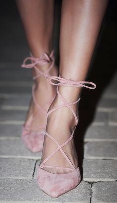 Pink lace up ballerina heels Zapatos Shoes, Women's Shoes, Shoe Boots, Blush Shoes, Shoes Style, Pink Shoes Outfit, Kitten Heels Outfit, Pink Kitten Heels, Ballet Shoes