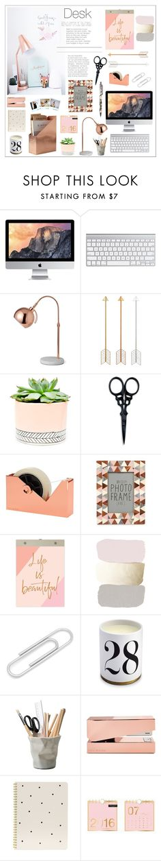 """""""Desk"""" by bittersweet89 ❤ liked on Polyvore featuring interior, interiors, interior design, home, home decor, interior decorating, Hostess, The BrowGal By Tonya Crooks, Tom Dixon and Chronicle Books"""
