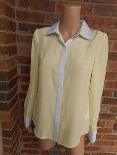 New OASIS Women Blouse Sz 12 / 38 Shirt Top Long Sleeve Button Front French Cuff #AlbertoMakali #KnitTop #Casual