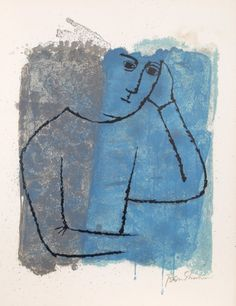 """Ben Shahn, 'In Rooms Withdrawn and Quiet' from Portfolio 'For the Sake of A Single Verse' by Rainer Maria Rilke""""), 1968 (lithograph on Richard de Bas hand-made paper) Art And Illustration, Ben Shahn, Collages, Mid Century Art, Jewish Art, Art Sketchbook, American Artists, Art Google, Painting & Drawing"""