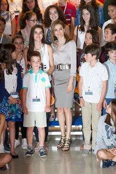 Queen Letizia of Spain at the opening of the summer courses of the International School of Music of the Prince of Asturias Foundation.