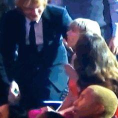 taylor swift & ed sheeran at the 2016 grammys