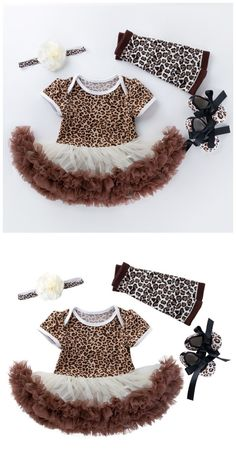 Leopard Short Sleeves Romper Skirt and Headband Shoes 4 Pcs Set in Brown Toddler Boy Gifts, Toddler Boys, Baby Hair Bands, Mommys Girl, Leopard Shorts, Romper With Skirt, Cute Toddlers, Home Outfit, Baby Shop