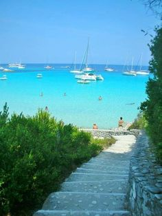 stairs leading to the bluest blue, Voutoumi, Antipaxos, Greece