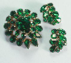 Green Rhinestone Brooch and Earrings Demi Set 1960s by PastSplendors on Etsy