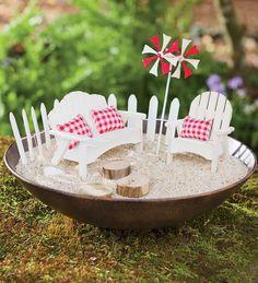 Miniature Fairy Garden Beach Furniture And Container
