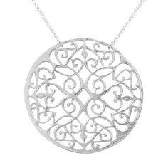 Lattice Medallion Silver Necklace | KTcollection