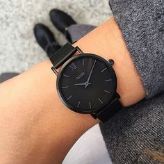 Minuit Mesh Black Black/Black - Watch - Ideas of Watch - Minuit Mesh Full Black Trendy Watches, Cute Watches, Elegant Watches, Beautiful Watches, Watches For Men, Black Watches, Cheap Watches, Women's Watches, Fashion Accessories