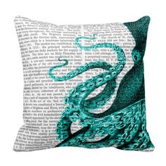 Octopus Green Throw Pillows