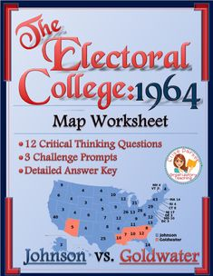 Electoral College Worksheets 1964 helps students master the intricacies of the electoral college even as they dive deep into the results of the 1964 presidential election. This electoral college map worksheet asks students to think and analyze by focusing on critical thinking questions, not mere map-reading skills. Helps students really understand electoral vote allotments and the potential pitfalls of the U.S. election system! #lbj #goldwater #1964 #uselections #electoralcollege #presidency Teaching Geography, Teaching History, Social Studies Activities, Math Resources, Presidential Election, Electoral College Map, Map Worksheets, Teacher Hacks