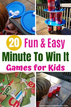 20 Easy Minute to Win it Games for Kids. Entertaining games for birthday parties, group events or for School & classroom parties. Find tips to adapt games for the holidays like Christmas, Halloween and Valentines Day too. Get ready to plan the best party! Easy Games For Kids, Christmas Games For Kids, Indoor Activities For Kids, Games For Toddlers, Best Kids Games, Summer Activities, Outdoor Activities, Minute To Win It Games For Adults, Minute To Win It Games Christmas