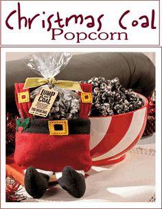 "Make up some ""Christmas Coal"" popcorn. Look yummy!  Christmas dessert, treat, for the kids, school"