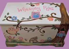 Custom Designed Owl Toy Chest by originalsbybarbmazur on Etsy Hand Painted Furniture, Kids Furniture, Painted Toy Chest, Wooden Chest, Funky Furniture, Upcycled Furniture, Pallet Furniture, Outdoor Furniture, Princess Toys