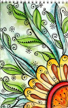 Sharpie doodle filled with water color and more sharpie doodle embellishments! Zentangle style
