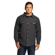 Dickies® - Men's Solid Flannel Quilted Shirt Jacket - Black