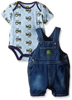 John Deere Baby Blue Tractors Overall Set, Light Blue/Denim, 3-6 Months