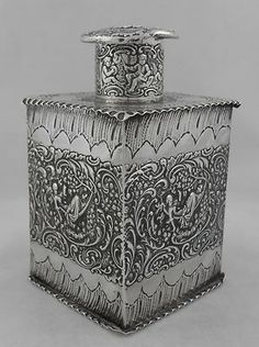 ANTIQUE STERLING SILVER TEA CADDY (DUTCH) - LONDON 1891.