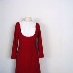 Red Velvet Dress / 1960s 60s / M by SmallEarthVintage on Etsy