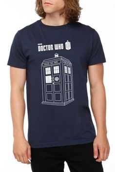 Navy blue T-shirt with Police Box (TARDIS) and Doctor Who logo.