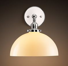 20th C. Factory Filament Milk Glass Dome Sconce