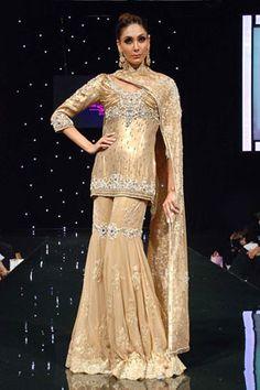 Gold net sharara   Satya Paul