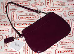 'BNWT Coach Berry Patent Leather Wristlet' is going up for auction at  2pm Wed, Aug 14 with a starting bid of $35.