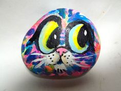 Gail Grant cat face original abstract rock painting modern art kitty stone  #Abstract