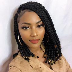 Bob Box Braids Styles, Short Box Braids Hairstyles, Bob Braids, Box Braids Styling, Braided Hairstyles For Black Women, African Braids Hairstyles, Braid Styles, Curly Hair Styles, Natural Hair Styles