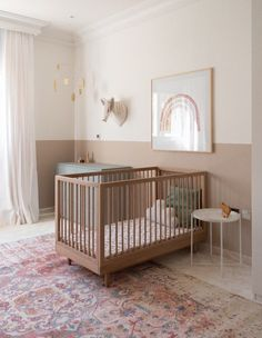 We met this lovely mama last year when she approached us to help with the design and installation of a shared boys and a shared girls room. Although she gravitated towards the colour. Baby Nursery Decor, Baby Bedroom, Baby Decor, Nursery Room, Girl Nursery, Girl Room, Navy Nursery, Nursery Ideas, Accent Wall Nursery